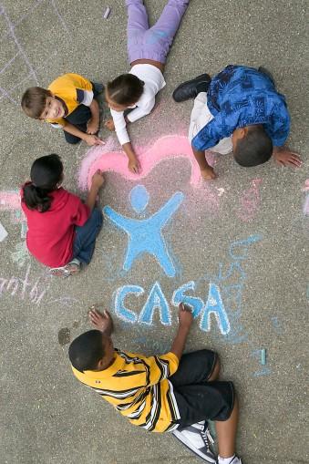 children chalk drawing